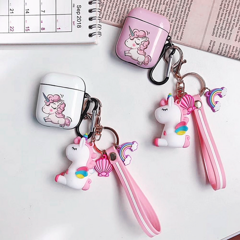 Rainbow Unicorn AirPods Hard Case Cover with Keychain