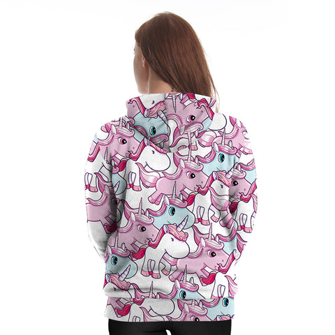 Cartoon Unicorn Pattern Hoodie Back