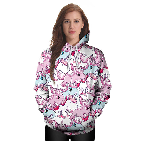 Cartoon Unicorn Pattern Hoodie Sweatshirt