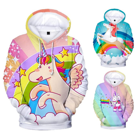 Colorful Cartoon Unicorn Pullover Hoodie Sweatshirt