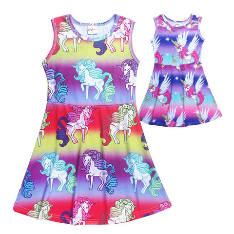Colorful Girls Cartoon Unicorn Party Dress