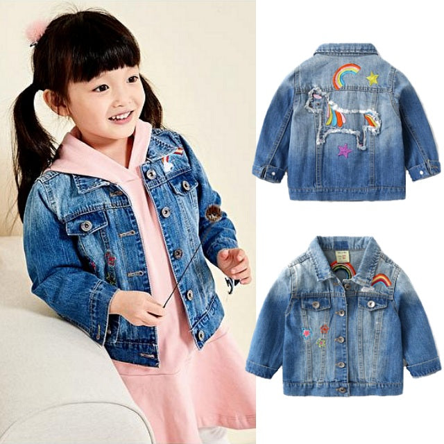 Girls Embroidered Denim Unicorn Jean Jacket