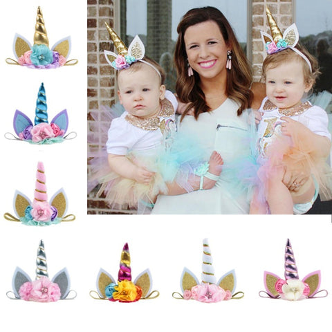 Kids Elastic Unicorn Horn Headband w/ Ears