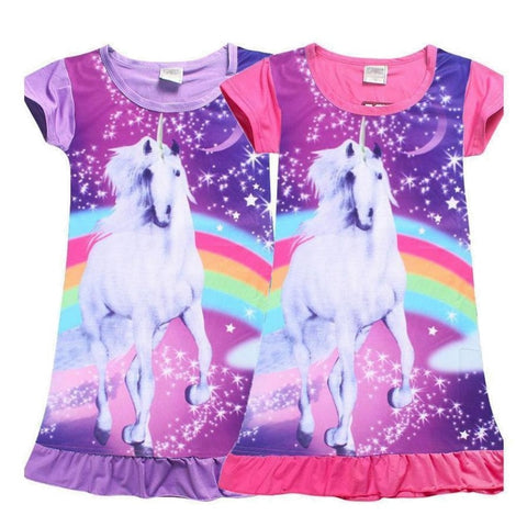 Enchanting Girls Rainbow Unicorn Summer Dress