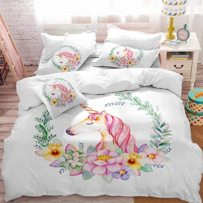 3-Piece Floral Unicorn Duvet Cover Bedding Set