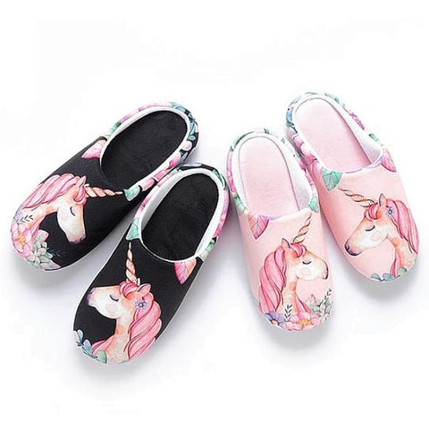Floral Unicorn Memory Foam House Slippers