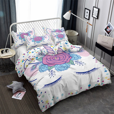 2/3-Piece Flower Confetti Unicorn Duvet Cover Set