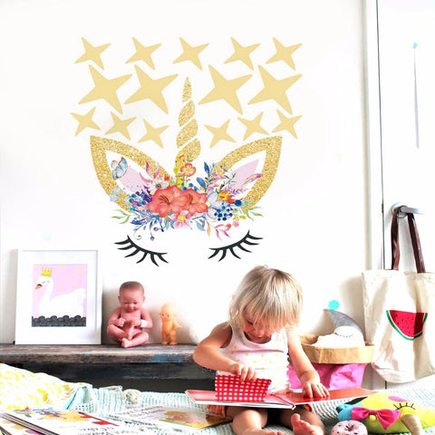 Flower Unicorn Wall Decal Sticker w/ Stars or Dots