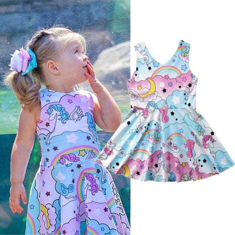 Girls Cartoon Unicorn Party Dress