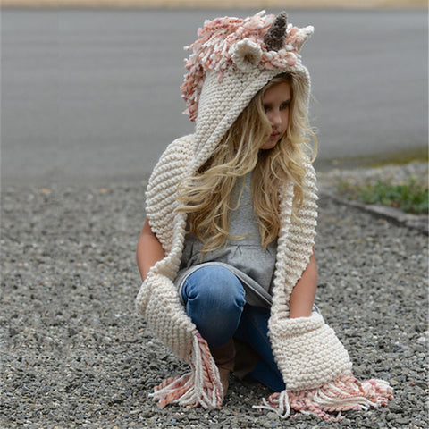 Knitted Unicorn Winter Hat Model 1