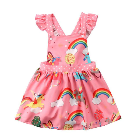 Girls Pink Rainbow Unicorn Ruffled Party Dress