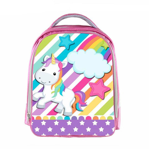 Girls Stars and Stripes Rainbow Unicorn Backpack