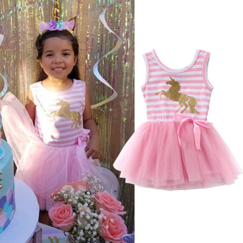Girls Pink Striped Unicorn Dress