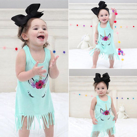 Girls Tassel Unicorn Sun Dress