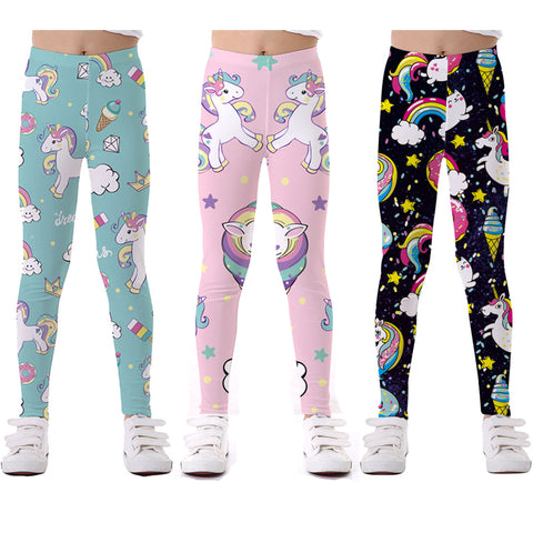 Girls Unicorn Pattern Leggings / Tights