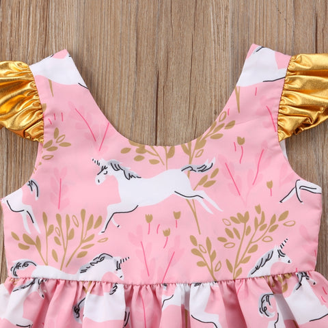 130d3f37ff51 Girls Unicorn Summer Party Dress w  Fly Sleeve - 100 Unicorns