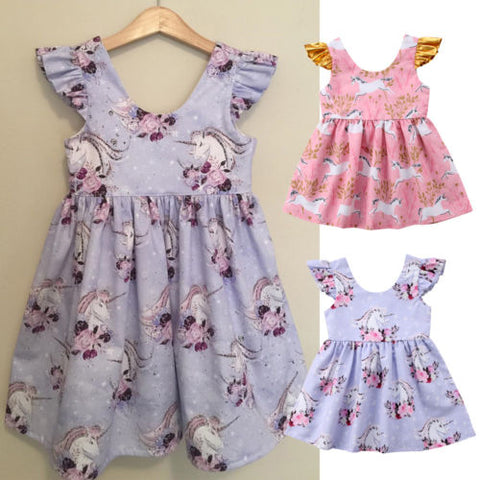 7e6d7a847191 Girls Unicorn Summer Party Dress w  Fly Sleeve · Girls Unicorn Summer Dress
