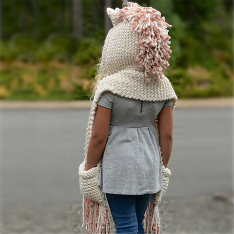 Girls Unicorn Winter Hat Model 2