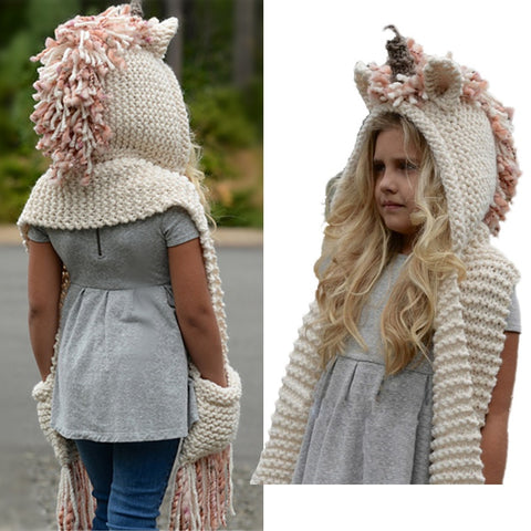 Girls Knitted Unicorn Winter Hat / Hooded Scarf