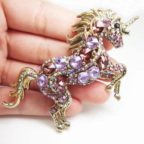 Gold-Purple Rhinestone Crystal Unicorn Brooch-100 Unicorns