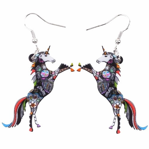 Psychedelic Acrylic Unicorn Earrings