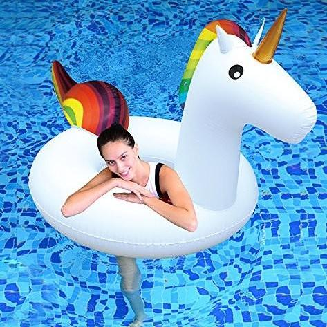 Rainbow Inflatable Unicorn Pool Tube / Ring