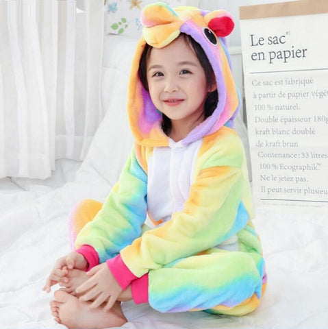 Kids Rainbow Unicorn Onesie Costume / Pajamas