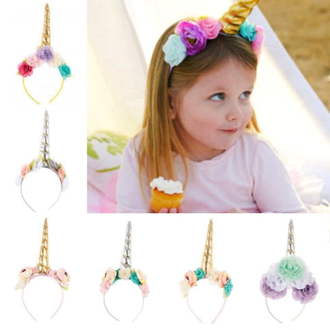 Kids Unicorn Horn Headband w/ Flowers