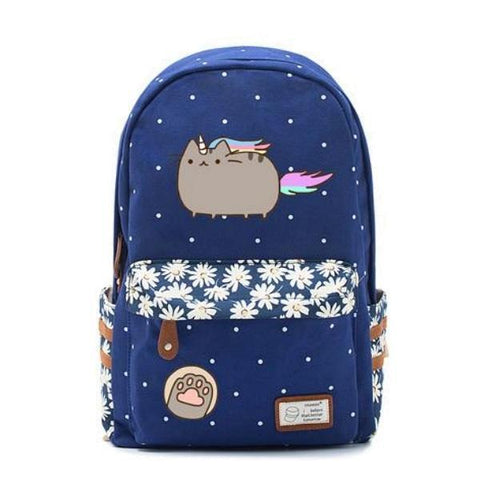 Unicorn Cat Caticorn Canvas Backpack