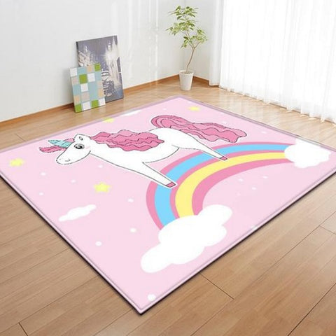 Pink Rainbow Sky Unicorn Area Rug Floor Mat