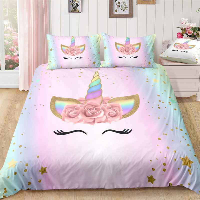 2/3-Piece Pink Rose Unicorn Duvet Bedding Set