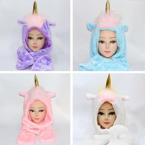 Plush Fleece Hooded Unicorn Winter Hat / Scarf