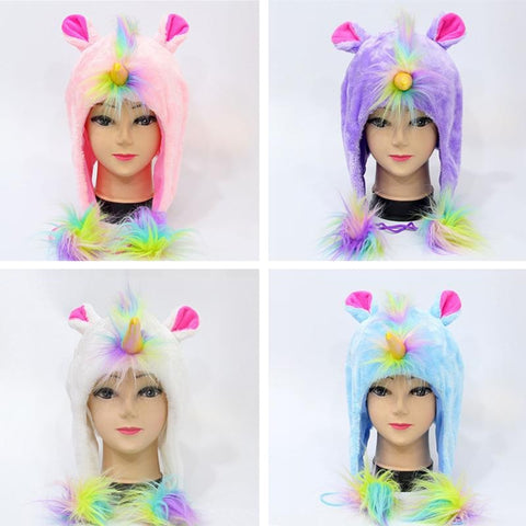 Plush Fleece Rainbow Unicorn Winter Hat