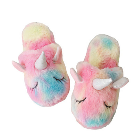 Fuzzy Rainbow Unicorn Dream Slippers
