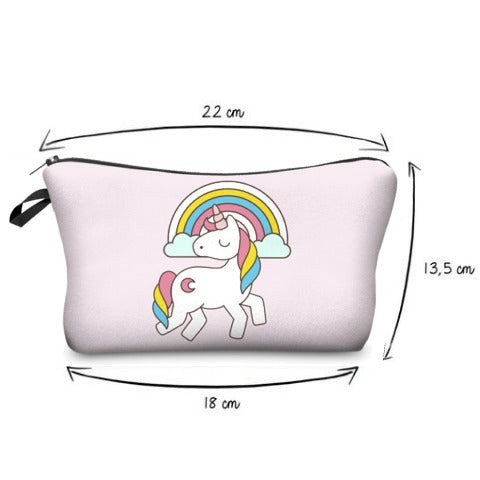 Size of Prancing Unicorn Cosmetic Bag