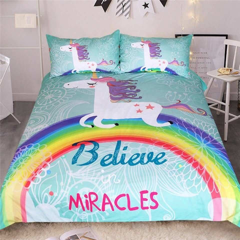 3-Piece Believe In Miracles Unicorn Duvet Cover Set