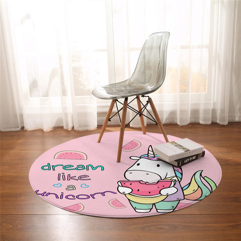 Round Cartoon Dream Like A Unicorn Floor Mat