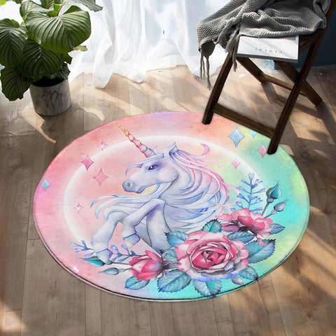 Round Pink Floral Rose Unicorn Floor Mat Rug