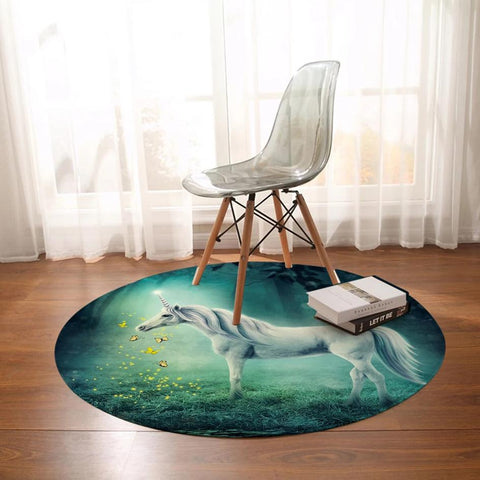 Round Magic Forest Unicorn Floor Mat Rug