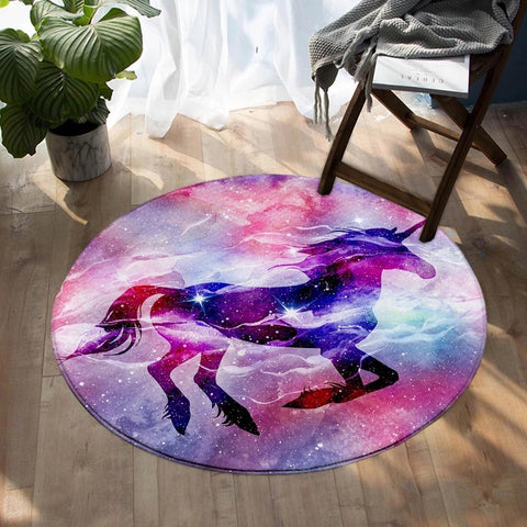 Round Purple Galaxy Unicorn Floor Mat Rug