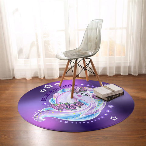 Purple Believe In Magic Round Unicorn Floor Mat