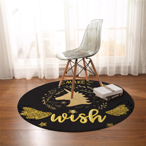 Round Black & Gold Make A Wish Unicorn Floor Mat
