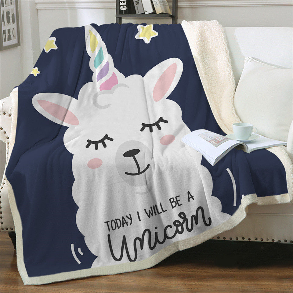 Sherpa Fleece Today I Will Be Unicorn Llama Blanket