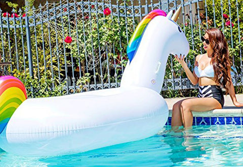 Giant Inflatable Unicorn Float by Pool