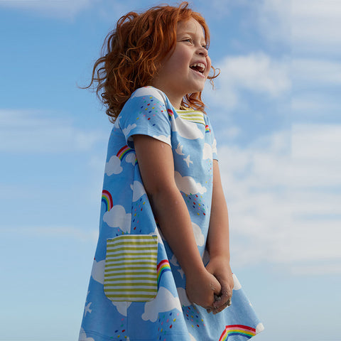 Girls Rainbow Clouds Summer Cotton Dress