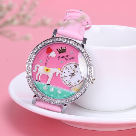 Pink Rhinestone Ladies Unicorn Watch