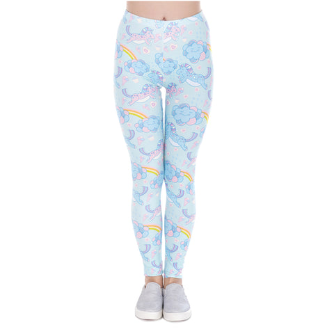 Women's Blue Cartoon Unicorn Clouds Leggings