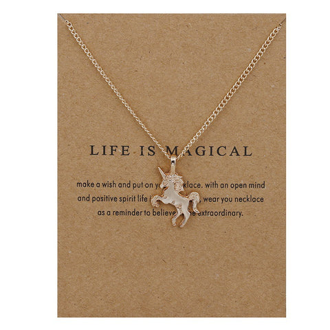 Life Is Magical Unicorn Pendant Necklace