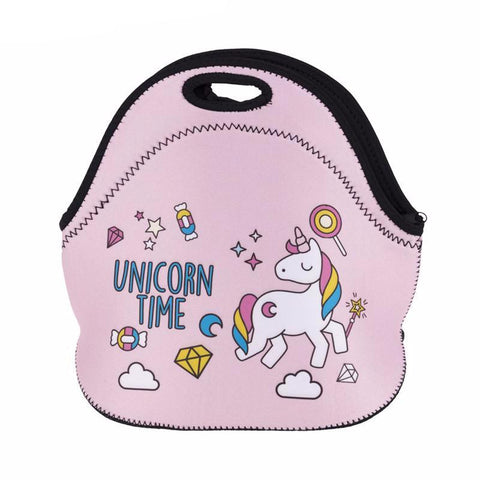 Pink Unicorn Time Cooler Lunch Bag
