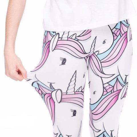 Stretchy White Unicorn Tights